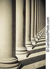 διακοσμώ με κολώνες , από , δύναμη