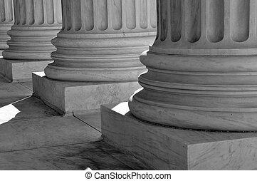 διακοσμώ με κολώνες , από , νόμοs , και , δικαιοσύνη , από...