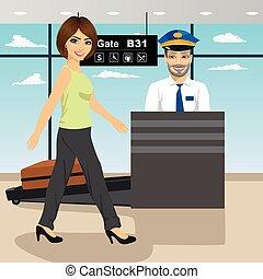 διακόπτης , άδεια , γυναίκα , αστυνομικόs , νέος , μηχανή , αποσκευές , χρόνος , x , ασφάλεια , ελέγχω , ελέγχω , ακτίνα