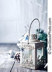 διακόσμηση , φανάρι , χιόνι , καύση , xριστούγεννα