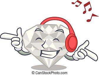 διαμάντι , απομονωμένος , ευχάριστος ήχος ακούω , άσπρο , γελοιογραφία