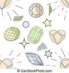 διαμάντι , ροζ , πασχαλιά , πρότυπο , seamless, χέρι , απόχρωση , μετοχή του draw , διαυγής , χρυσός , γραφικός , γύρος