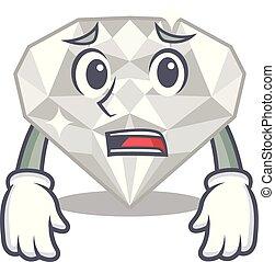 διαμάντι , φοβισμένος , απομονωμένος , άσπρο , γελοιογραφία