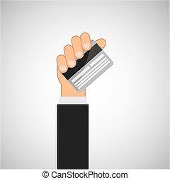 διαμέρισμα , απομονωμένος , χέρι , πιστώνω , σχεδιάζω , κρατάω , κάρτα , εικόνα