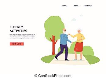 διαμέρισμα , αρχαιότερος , ηλικιωμένος , website , δραστηριότητες , επεμβαίνω , ζευγάρι , μικροβιοφορέας , illustration.