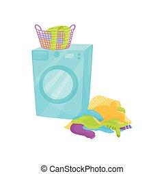 διαμέρισμα , γεμάτος , πλύση , μπουγάδα , floor., πλαστικός , μηχανή , μικροβιοφορέας , σχεδιάζω , βρώμικος , καθαρός , καλαθοσφαίριση , ενισχύω , ρούχα