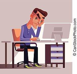 διαμέρισμα , γραφείο , κουρασμένος , gard , δουλειά , εργάτης , εικόνα , άθυμος , workplace., διαχειριστής , μικροβιοφορέας , ατυχής , κάθονται , βάζω στο τραπέζι. , γελοιογραφία , άντραs