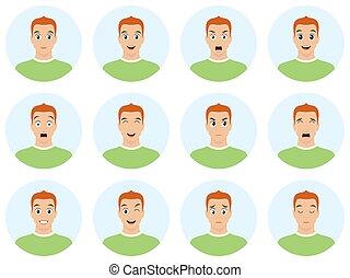 διαμέρισμα , διαφορετικός , νέος , εικόνα , expressions., μικροβιοφορέας , emotions., του προσώπου , άντραs , πορτραίτο , ωραία , style., avatar