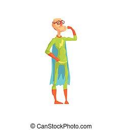 διαμέρισμα , δικός του , superhero , biceps., χαρακτήρας , εκδήλωση , γυαλιά , αναπτύσσομαι. , ηλικιωμένος , παππούs , γριά , καλός , κοστούμι , vector., ακρωτήριο , σωματικός , ήρωας , gloves.