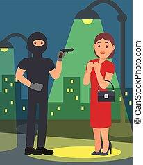 διαμέρισμα , δρόμοs , mask., νέος , όπλο , scene., μικροβιοφορέας , μαύρο , αρπαγή , νύκτα , κλέβω , σχεδιάζω , woman., άντραs , ληστής , ρούχα