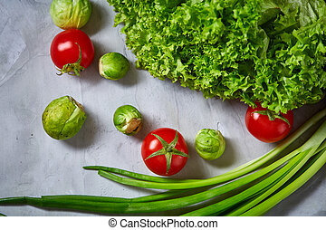 διαμέρισμα , ζωή , ακίνητο , lay., πάνω , φόντο , textured , φρέσκος , άσπρο , γκρο πλαν , λαχανικά