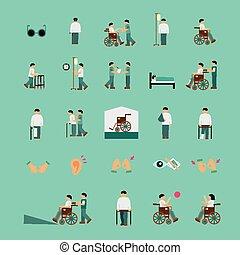 διαμέρισμα , θέτω , βοήθεια , άνθρωποι , απεικόνιση , ανάπηρος , προσοχή