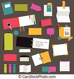 διαμέρισμα , θέτω , χρώμα , set., infographic, υπενθύμιση , stickers.