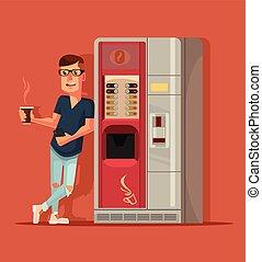 διαμέρισμα , καφέs , machine., χαρακτήρας , εικόνα , επόμενος , μικροβιοφορέας , πόσιμο , γελοιογραφία , άντραs