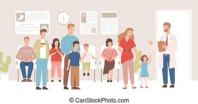 διαμέρισμα , μικροβιοφορέας , ευτυχισμένος , γιατρός , γυναίκεs , μοντέρνος , ιατρικός , illustration., χαρακτήρας , εσωτερικός , νοσοκομείο , ανεκτικός , άντρεs , γιατρός , δωμάτιο , γελοιογραφία , χαμογελαστά , αρσενικό , αναμονή , άνθρωποι , παιδιά , επισκέπτες , clinic.