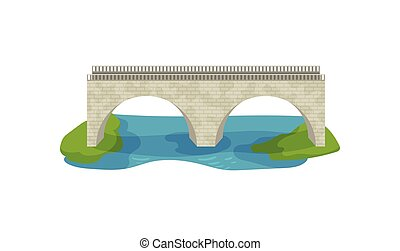 διαμέρισμα , μικροβιοφορέας , σχεδιάζω , από , τούβλο , bridge., μεγάλος , καμάρα , footbridge., διάδρομος , απέναντι , ο , river., δομή , για , μεταφορά