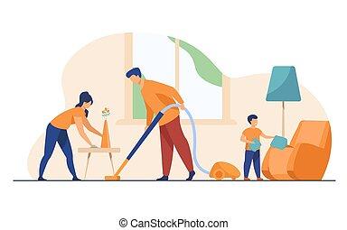 διαμέρισμα , νοικοκυριό , οικογένεια , μαζί , εικόνα , ευτυχισμένος , μικροβιοφορέας