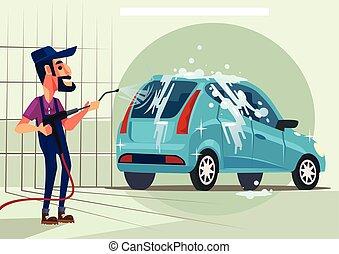 διαμέρισμα , πλύση , χαρακτήρας , εργάτης , εικόνα , μικροβιοφορέας , άμαξα αυτοκίνητο. , γελοιογραφία
