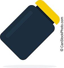 διαμέρισμα , πρωτεΐνη , δοχείο , μαύρο , καπάκι , απομονωμένος , κίτρινο