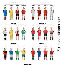 διαμέρισμα , ρυθμός , illustration., ποδόσφαιρο , παίχτης , team., ποδόσφαιρο