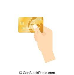 διαμέρισμα , χρυσαφένιος , concept., - , απομονωμένος , χέρι , πιστώνω , μικροβιοφορέας , κράτημα , icon., πληρωμή , κάρτα