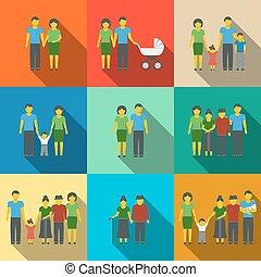 διαμέρισμα , όλα , θέτω , οικογένεια , απεικόνιση , αιώνας , μακριά , multigenerational , μικροβιοφορέας , members., σκιά