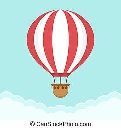 διαμέρισμα , balloon, ουρανόs , αέραs , ζεστός , σχεδιάζω , clouds., γελοιογραφία