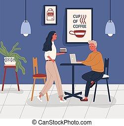 διαμέρισμα , coworking, freelancer , shop., ρυθμός , σερβιτόρα , cafe., νέος , customer., γελοιογραφία , εργαζόμενος , κάθονται , τραπέζι , άγω , μικροβιοφορέας , εικόνα , μοντέρνος , άντραs , καφέs , laptop , workspace., κέηκ