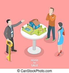 διαμέρισμα , isometric , σπίτι , concept., πώληση , μικροβιοφορέας