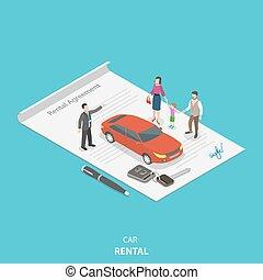 διαμέρισμα , isometric , concept., μικροβιοφορέας , όχημα , ενοίκιο
