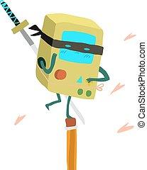 διαμέρισμα , mascot., κονσόλα , ρομπότ , ninja , γελοιογραφία