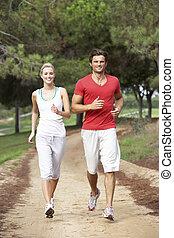 διαμέσου , τρέξιμο , πάρκο , ζευγάρι , νέος