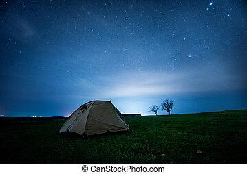 διαμονή σε κατασκήνωση αντίσκηνο , μέσα , ο , νύκτα , βουνά , κάτω από , ένα , απαστράπτων αστεροειδής κλίμα