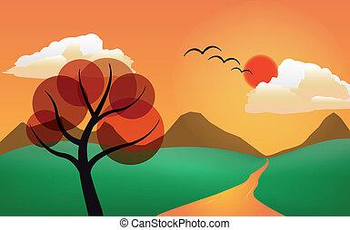 διαμορφώνω κατά ορισμένο τρόπο , δέντρο , ηλιοβασίλεμα