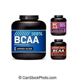 διατροφή , προϊόν , αγώνισμα , φόντο. , set., οξέα , βάζο , συλλογή , packaging., branched-chain, μικροβιοφορέας , μαύρο , cans , containers., άσπρο , επιγραφή , bcaa., amino
