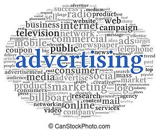 διαφήμιση , γενική ιδέα , μέσα , λέξη , ετικέτα , σύνεφο