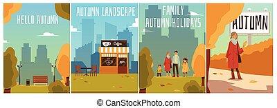 διαφημιστική αφίσα , φθινόπωρο , cityscape., συλλογή , μικροβιοφορέας