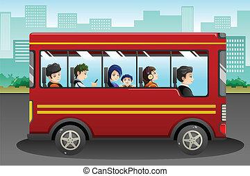 διαφορετικός , άνθρωποι , ιππασία , ένα , λεωφορείο