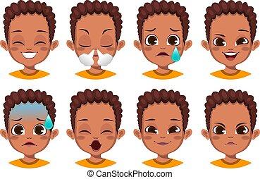 διαφορετικός , έκφραση , αφρικανός , χαριτωμένος , αγόρι , του προσώπου , θέτω