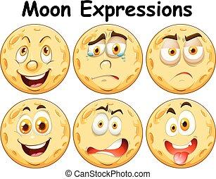 διαφορετικός , έξι , έκφραση , του προσώπου , φεγγάρι