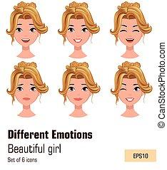 διαφορετικός , γυναίκα , νέος , ισχυρό αίσθημα , ζεσεεδ , expressions., διάφορος , ελκυστικός , ξανθομάλλα , κορίτσι