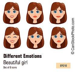διαφορετικός , γυναίκα , νέος , expressions., διάφορος , ελκυστικός , του προσώπου , κυρία , emotions.