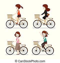 διαφορετικός , γυναίκα , ποδήλατο , ενέργειες , θέτω , ιππασία