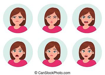 διαφορετικός , θέτω , του προσώπου , set., χαρακτήρας , ισχυρό αίσθημα , girl/woman, expressions., γυναίκα , emotions., γυναίκα , emoji