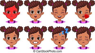 διαφορετικός , κορίτσι , έκφραση , αφρικανός , χαριτωμένος , του προσώπου , θέτω