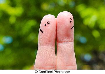 διαφορετικός , τέχνη , ζευγάρι , μετά , επιχείρημα , ανδρόγυνο. , ατενίζω , directions., δάκτυλο