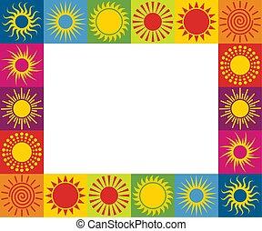 διαφορετικός , illustration., ήλιοs , κορνίζα , icons., μικροβιοφορέας