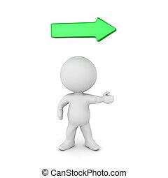 διαχείριση δεξιός , βέλος , στίξη , χαρακτήρας , πράσινο , επάνω , 3d