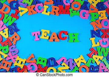 διδάσκω , γραμμένος , από , πλαστικός , γραφικός , γράμματα