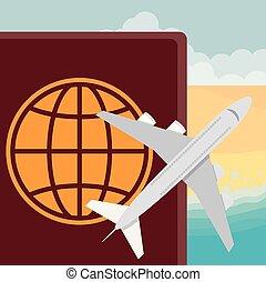 διεθνής , αεροπλάνο , έγγραφο , διαβατήριο